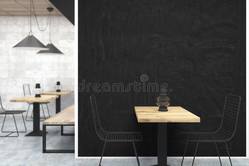 Graues und hölzernes Café, schwarzer Wandabschluß oben vektor abbildung
