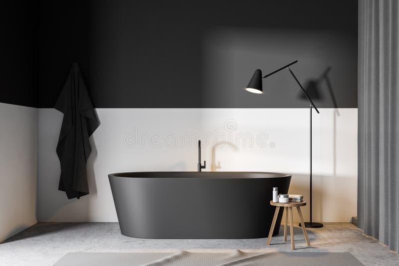 Graues und weißes Badezimmer mit Wanne lizenzfreie abbildung