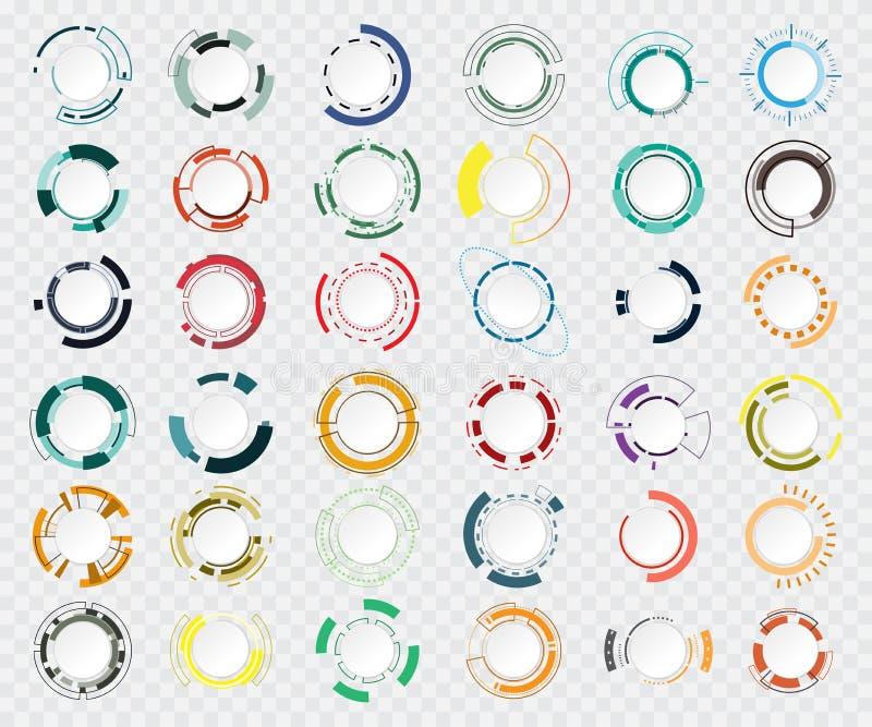 Graues Weiß des abstrakten Technologiekreises und bunte Kommunikation lizenzfreie abbildung