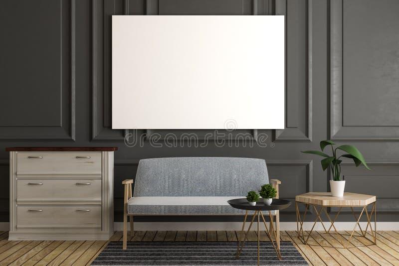 Graues Wohnzimmer mit leerem Plakat lizenzfreie abbildung