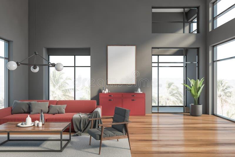 Graues Wohnzimmer mit rotem Sofa und Plakat vektor abbildung