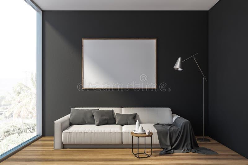 Graues Wohnzimmer mit Sofa und horizontalem Plakat stock abbildung