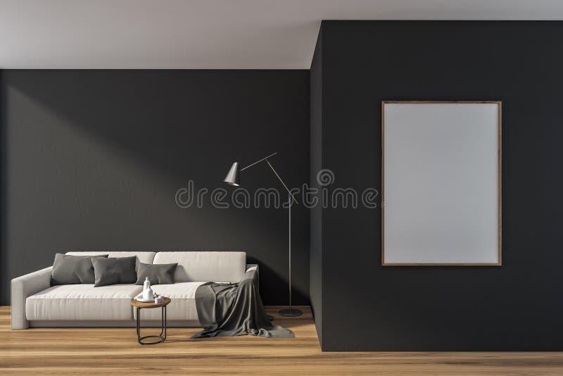 Graues Wohnzimmer mit Sofa und vertikalem Plakat lizenzfreie abbildung