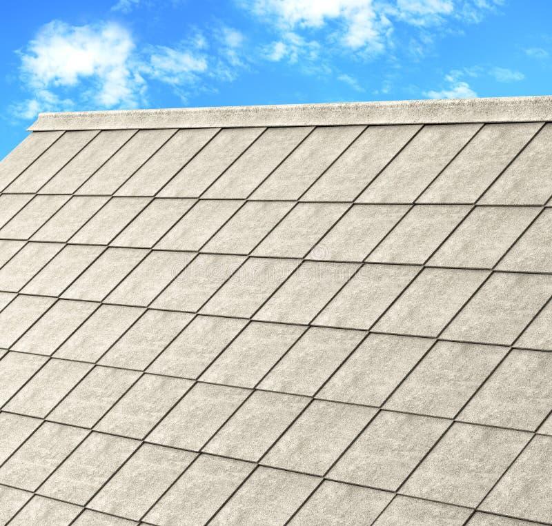 Graues Ziegeldach des Bauhauses mit blauem Himmel stock abbildung