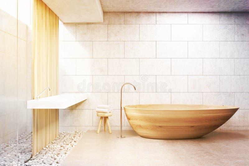 Graues Ziegelsteinbadezimmer, hölzerne Wanne, Front, getont lizenzfreie abbildung