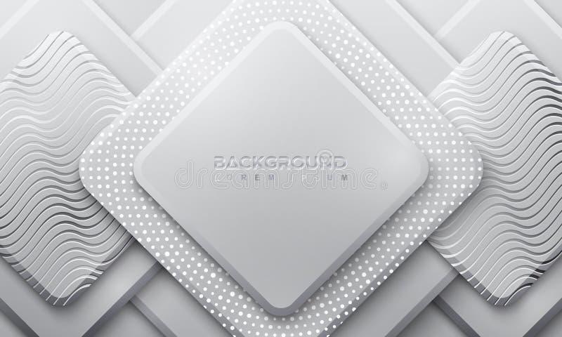 Grauhintergrund mit Art 3D Heller Hintergrund mit einer Kombination von Punkten und von Linien Hintergrund des Vektor Eps10 lizenzfreie abbildung