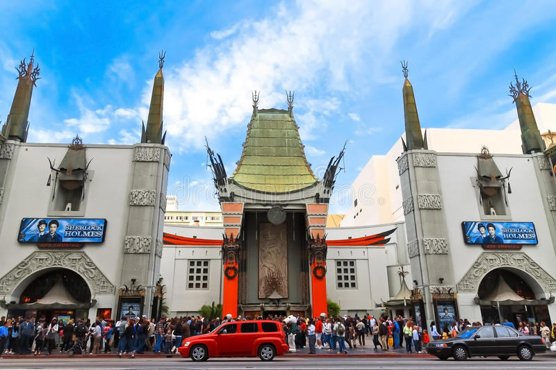 Grauman's Chinese Theater. Located on Hollywood Boulevard in Hollywood, California. Hand prints of celebrities are ensconced in front of the building royalty free stock photo