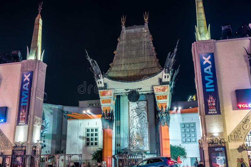 Grauman`s Chinese Theater on hollywood blvd los angeles at night. Grauman`s Chinese Theater on hollywood  blvd los angeles at night stock images