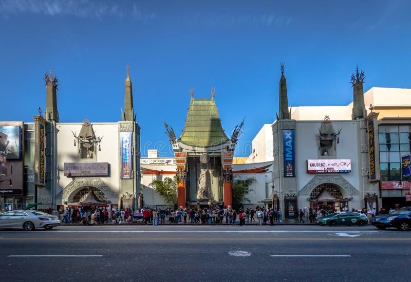 Grauman`s Chinese Theater on Hollywood Boulevard - Los Angeles, California, USA. LOS ANGELES, USA - January 07, 2017: Grauman`s Chinese Theater on Hollywood royalty free stock photo