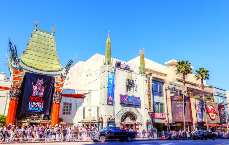 Grauman`s Chinese Theater on Hollywood Boulevard. LOS ANGELES - MAR 26, 2018: Crowds gather at the famous Grauman`s Chinese Theater on Hollywood Boulevard stock photo