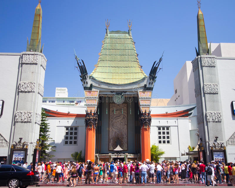 Grauman's Chinese Theater LA. LOS ANGELES, CA - AUG 11: Historic Grauman's Chinese Theater in Los Angeles, CA on Aug. 11, 2012. Opened in 1922 this Hollywood royalty free stock images