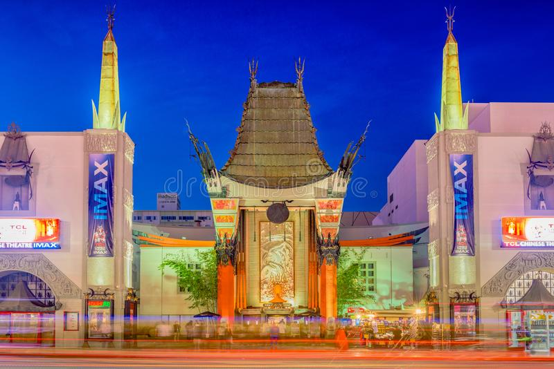 Grauman`s Chinese Theater. LOS ANGELES, CALIFORNIA - MARCH 1, 2016: Grauman`s Chinese Theater on Hollywood Boulevard. The theater has hosted numerous premieres stock photos