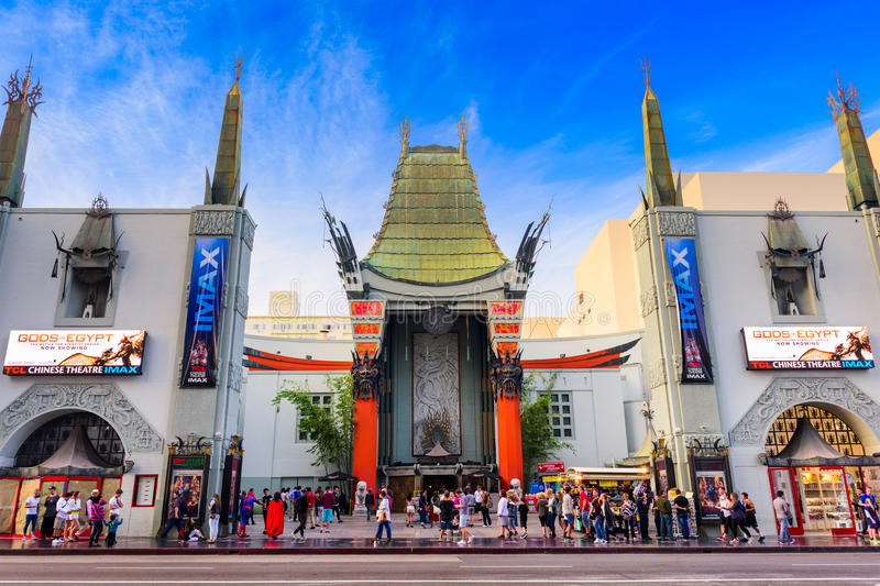 Grauman's Chinese Theater. LOS ANGELES, CALIFORNIA - MARCH 1, 2016: Grauman's Chinese Theater on Hollywood Boulevard. The theater has hosted numerous premieres royalty free stock photography