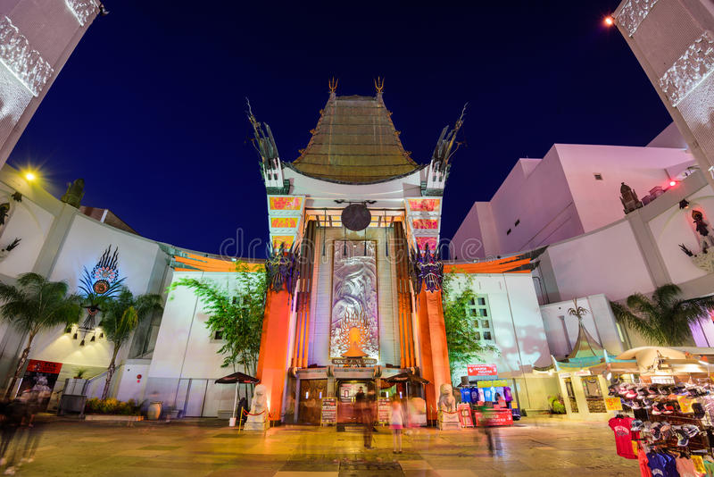 Grauman's Chinese Theater. LOS ANGELES, CALIFORNIA - MARCH 1, 2016: Grauman's Chinese Theater on Hollywood Boulevard. The theater has hosted numerous premieres royalty free stock images