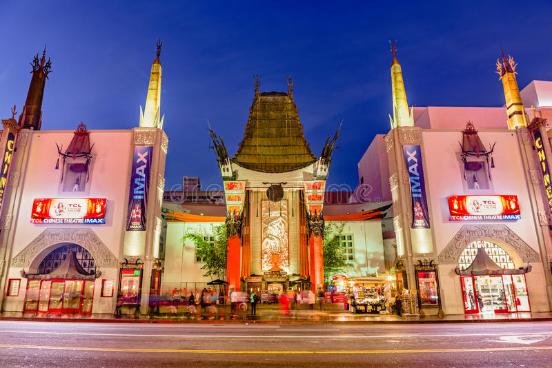 Grauman`s Chinese Theater. LOS ANGELES, CALIFORNIA - MARCH 1, 2016: Grauman`s Chinese Theater on Hollywood Boulevard. The theater has hosted numerous premieres royalty free stock photos