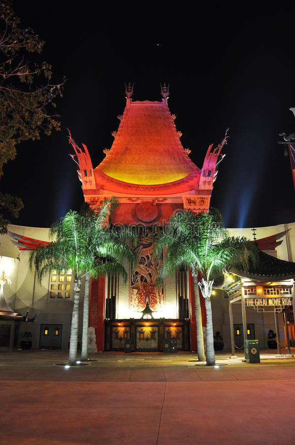 Graumans Chinese Theater at night. Graumans Chinese Theater (TCL Chinese Theatre) at night, located on Hollywood Boulevard in Disney Hollywood Studios, Orlando stock photo