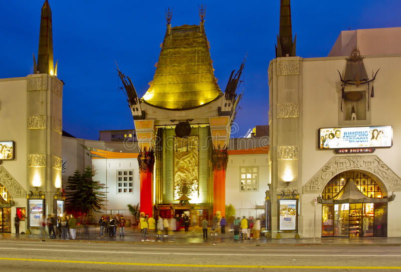 Grauman's Chinese Theater at Night. May 17, 2011: Tourist mill around the celebrity hand prints at the famous Grauman's Chinese Theater at night on Hollywood royalty free stock photo