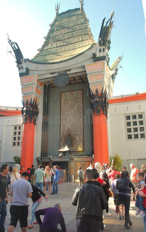 Grauman's Chinese Theatre. The famous Grauman's Chinese Theatre in Hollywood, California, with tourists flocking to see the sights stock images
