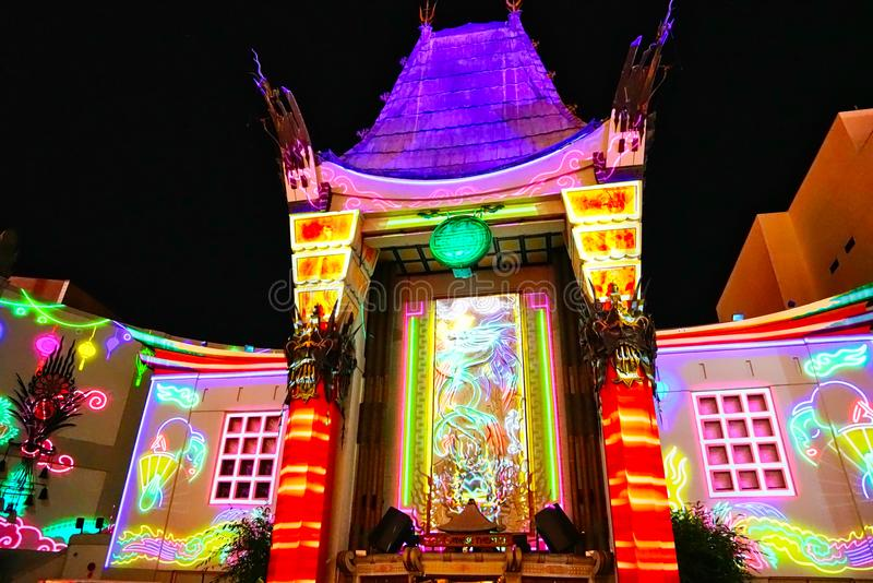Grauman`s Chinese Theatre at night on Hollywood Boulevard stock images