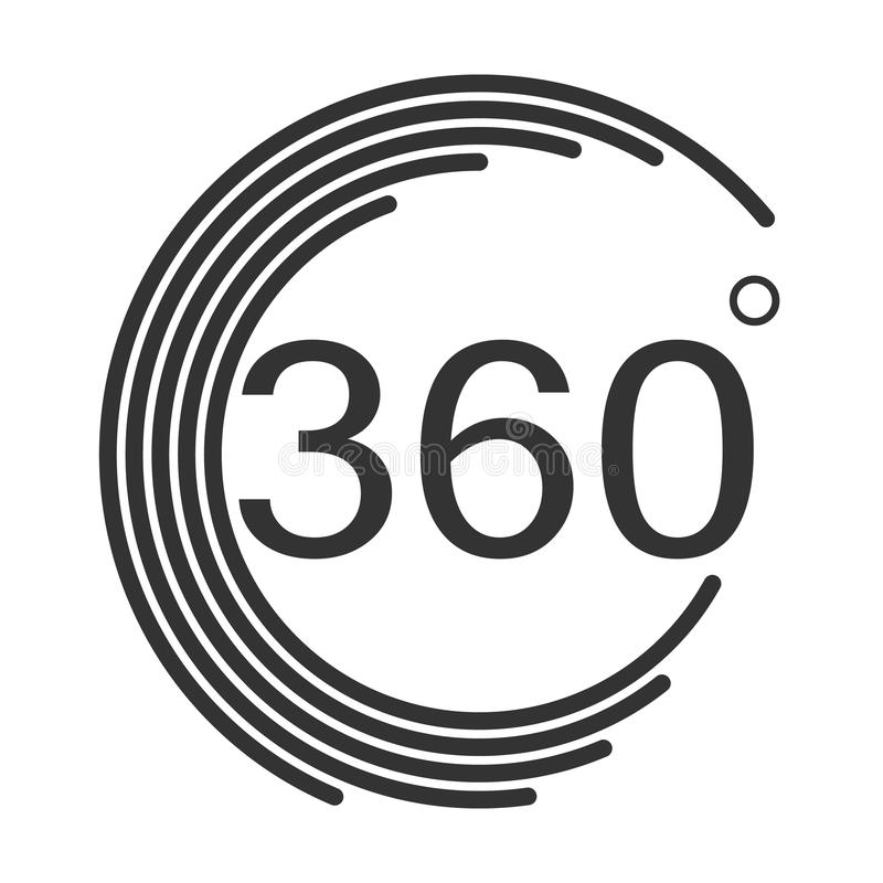 360 graus de ícone do ângulo no fundo branco Estilo liso degr 360 ilustração stock
