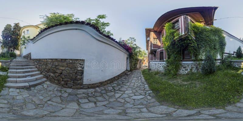 360 graus de panorama da casa de Balabanov em Plovdiv, Bulgária fotografia de stock royalty free