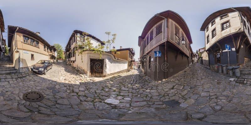 360 graus de panorama da cidade velha em Plovdiv, Bulgária imagens de stock royalty free