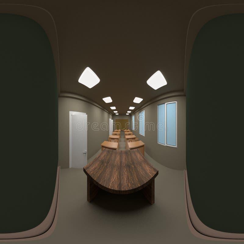 360 graus de panorama esférico da tabela e da cadeira de madeira com o quadro-negro vazio verde, 3D ilustração stock