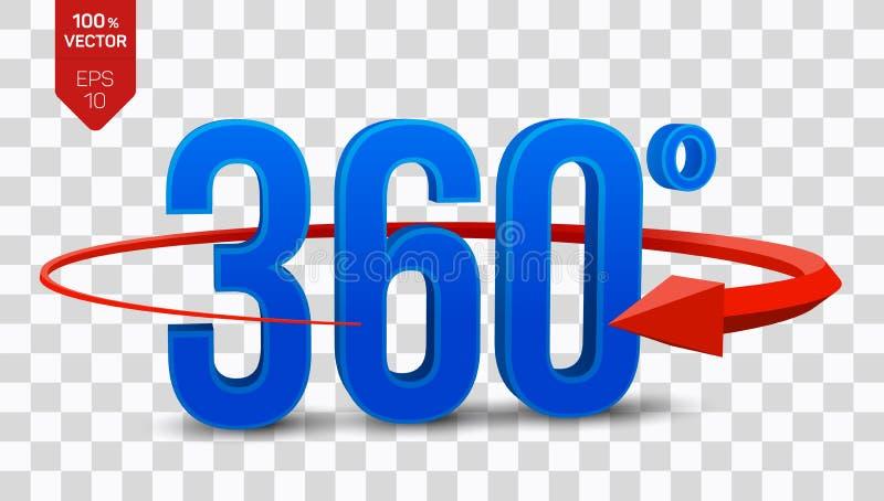360 graus de sinal o ângulo 3d isométrico 360 graus vê o ícone no fundo transparente Realidade virtual geometria ilustração do vetor