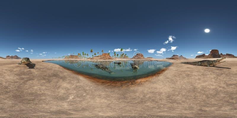 360 graus esféricos do panorama sem emenda com o crocodilo pré-histórico Sarcosuchus ilustração royalty free