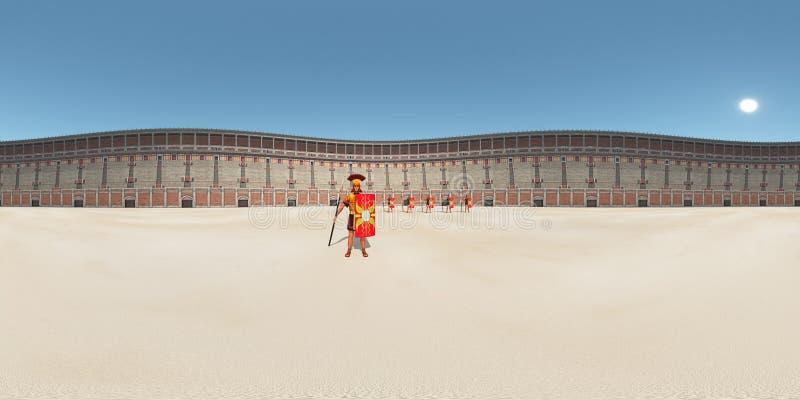 360 graus esféricos do panorama sem emenda com os legionários no Colosseum em Roma antiga ilustração do vetor