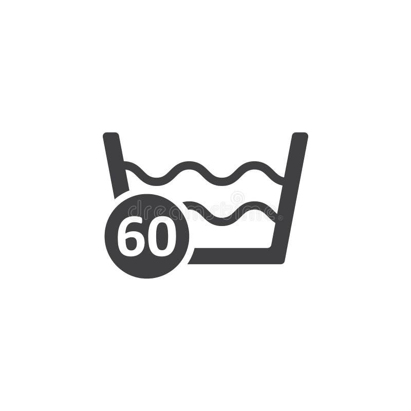 60 graus que lavam o ícone da lavanderia ilustração do vetor