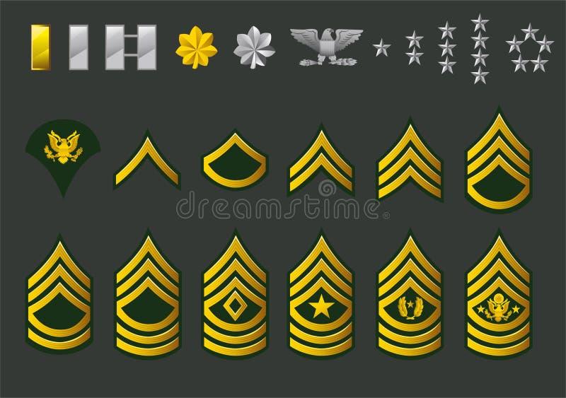 Graus recrutados exército dos EUA ilustração do vetor