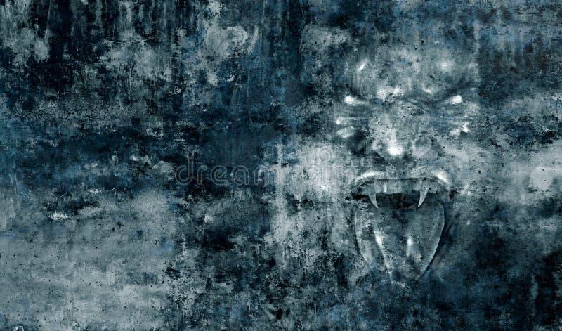 Grausigkeits-Monster-Gesichts-Hintergrund lizenzfreie abbildung