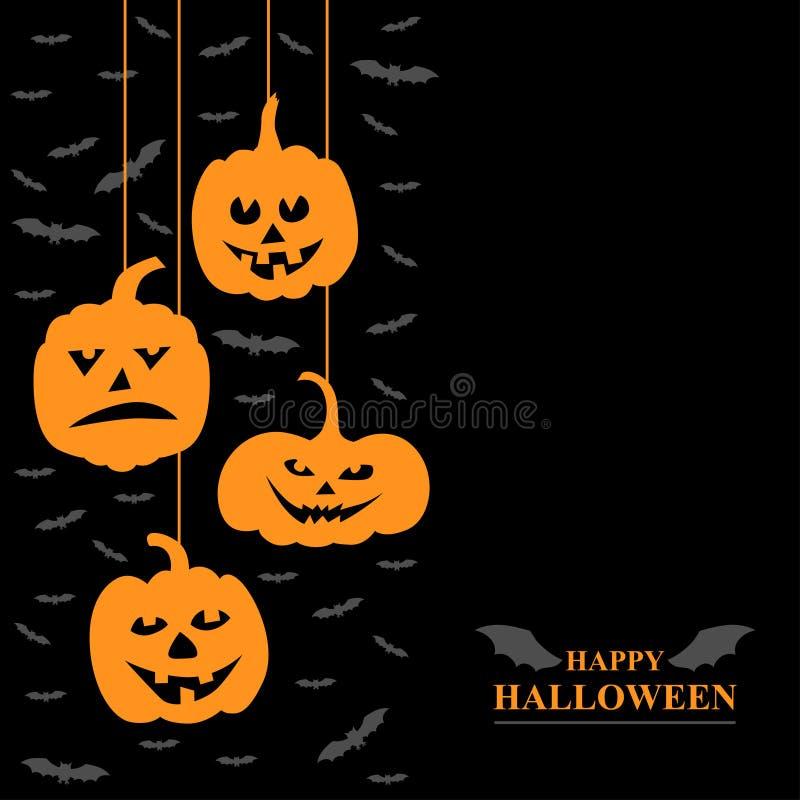 Grausigkeitskürbis- und -Vampirsgrußkarte Halloweens lustige lizenzfreie abbildung