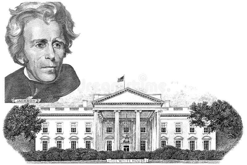 Gravüre von Andrew Jackson und von weißem Haus lizenzfreies stockfoto