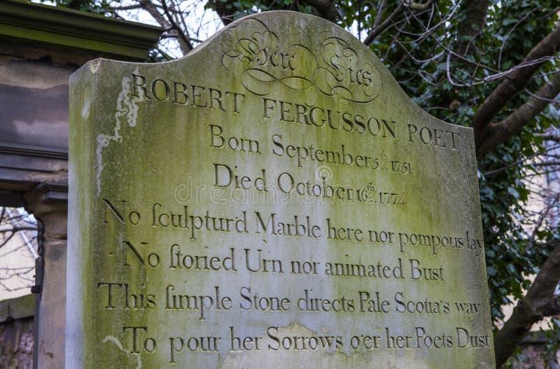 Grav av Robert Fergusson i Edinburg royaltyfria bilder