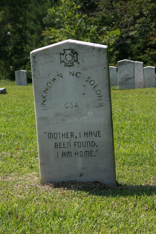 Grav för ` s för okänd soldat för Oakwoodkyrkogårdförbundsmedlem från Gettysburg royaltyfri foto