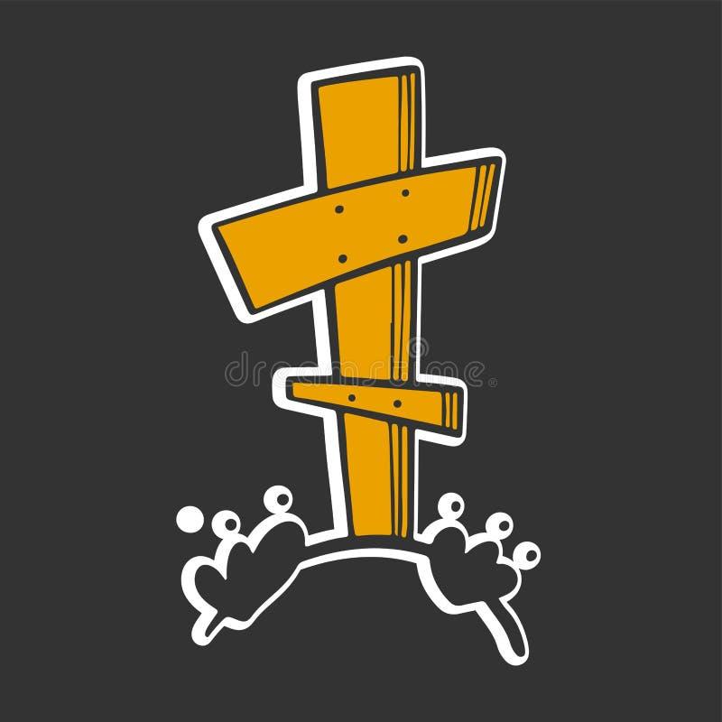Grav med korset Vektorbegrepp i klotter och att skissa stil vektor illustrationer