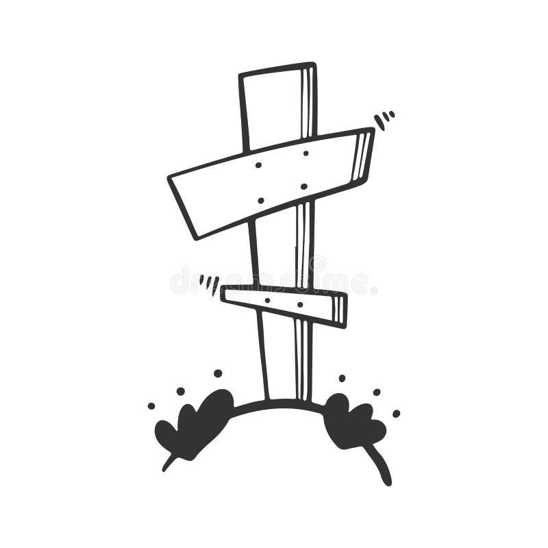 Grav med korset Vektorbegrepp i klotter och att skissa stil stock illustrationer