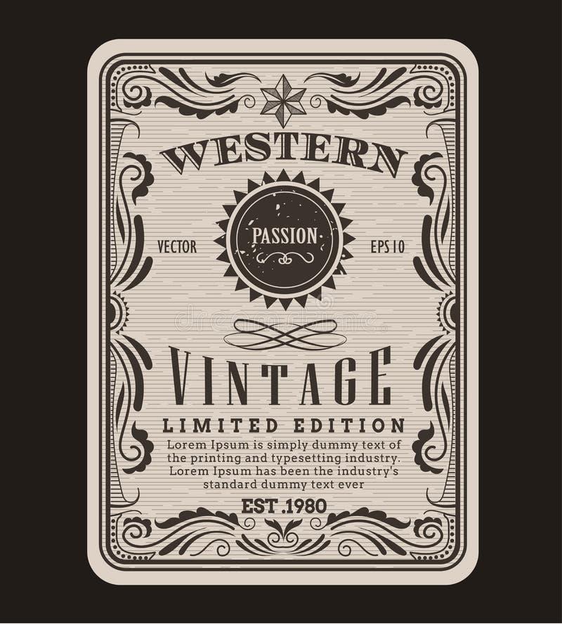 Gravação tirada da etiqueta do vintage da beira do quadro mão ocidental retro ilustração do vetor
