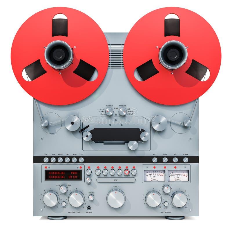 Gravador bobina a bobina retro, rendição 3D ilustração do vetor