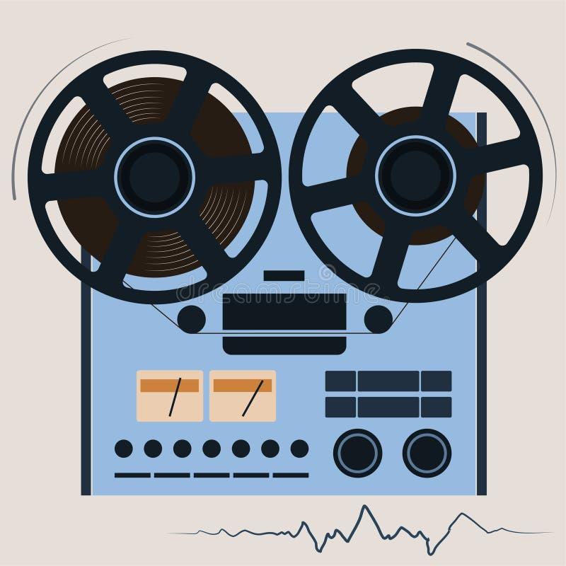 Gravador da bobina Jogando a música Jogador audio Multimédios do século passado ilustração stock
