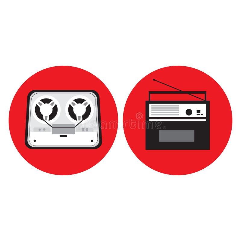 Gravador da bobina, rádio no estilo retro, ilustração do vetor ilustração stock
