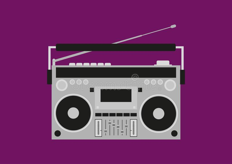 Gravador de cassetes velho Boombox retro Ilustração do vetor ilustração stock