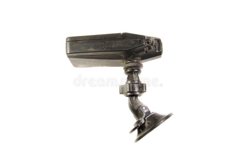 Gravador de vídeo do carro isolado no fundo branco imagem de stock