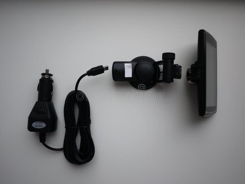 Gravador de vídeo para o carro Usado para gravar o que está acontecendo na estrada Instalado no para-brisa e foto de stock