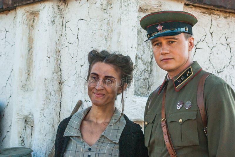 Gravando o ` da fronteira de Ilyinsky do ` do filme na região de Kaluga de Rússia fotografia de stock