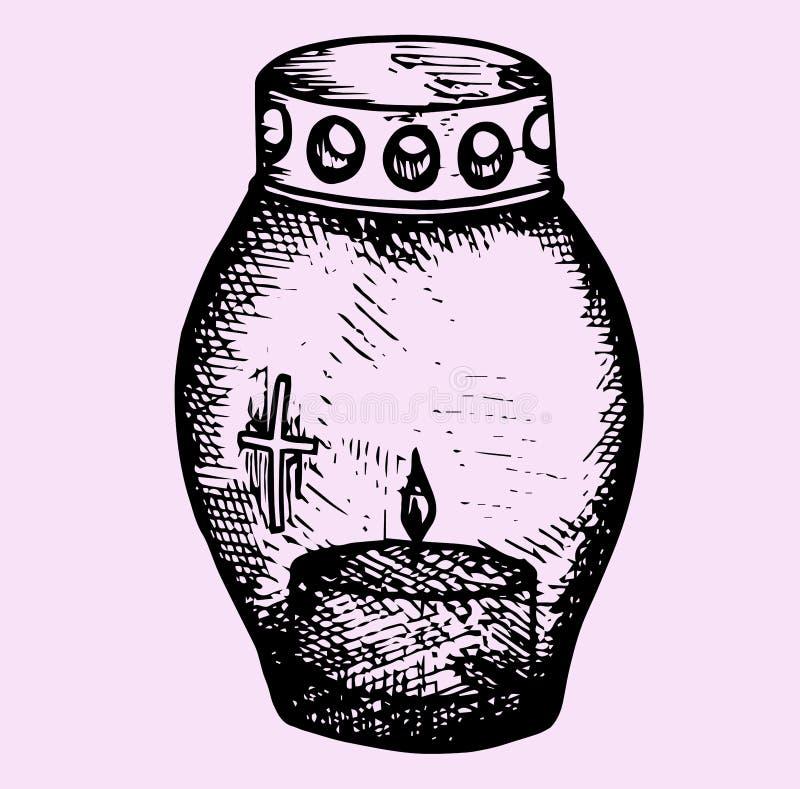 Grave candle. Doodle style, sketch illustration vector illustration
