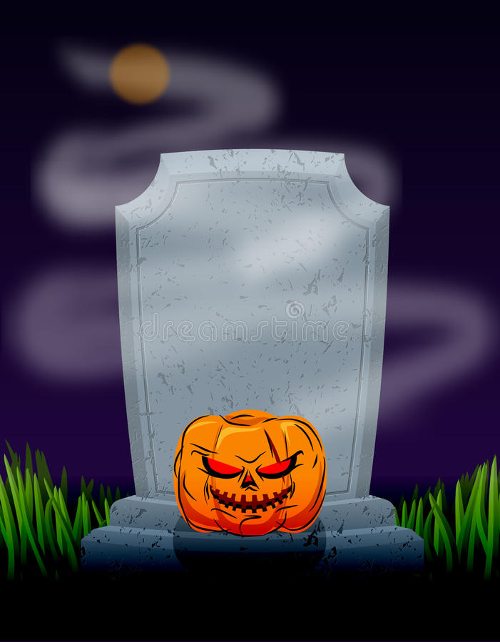 Grave in cemetery at night. Tombstone and spooky pumpkin. Illustration for halloween scary holiday. Moon on dark sky. Ghost Fog vector illustration