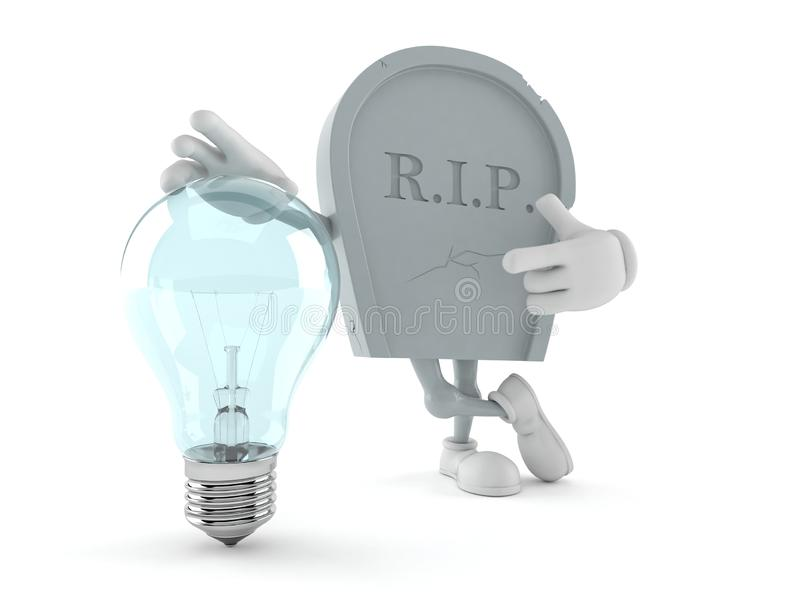 Grave character with light bulb royalty free illustration